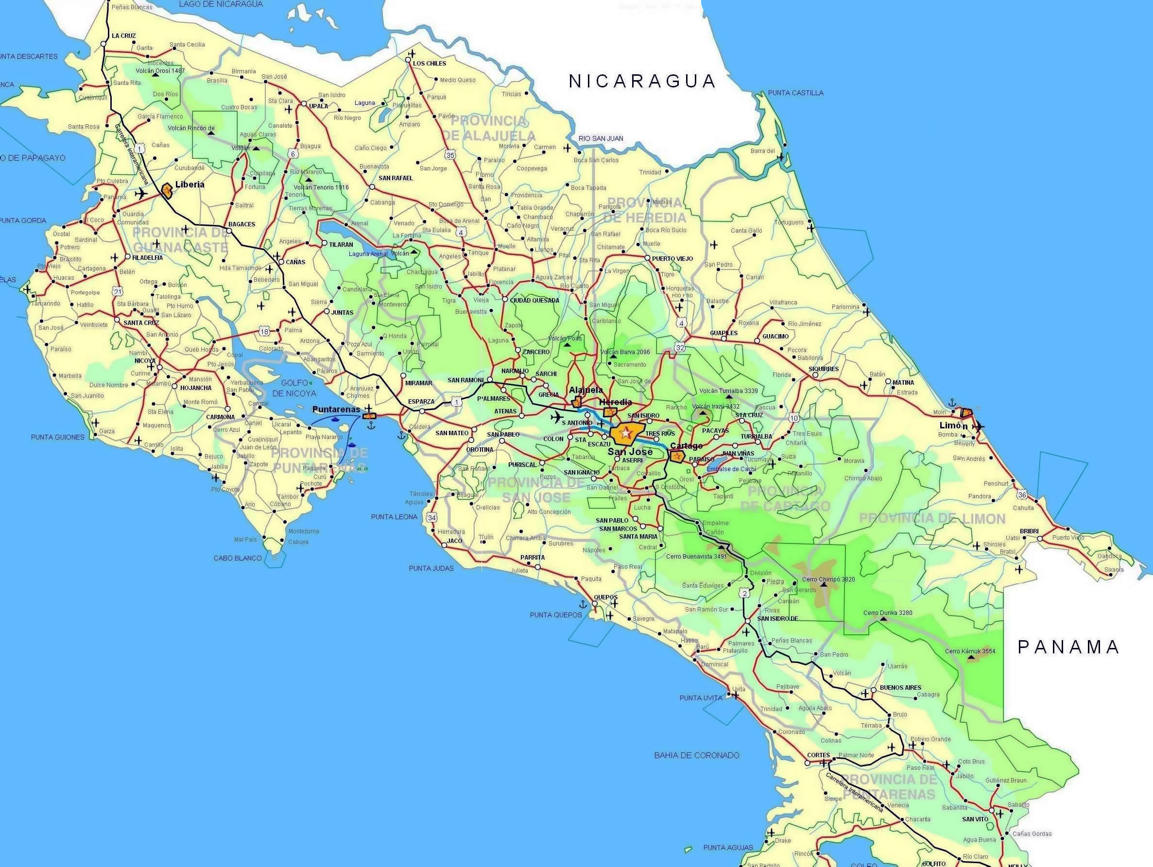 Big road map of Costa Rica with cities and airports Costa Rica – Travel Map Of Costa Rica