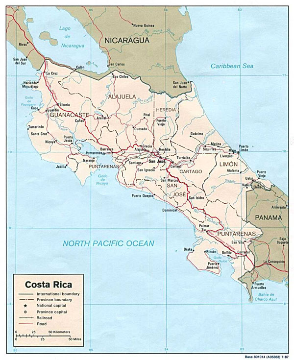 Detailed administrative and political map of Costa Rica.