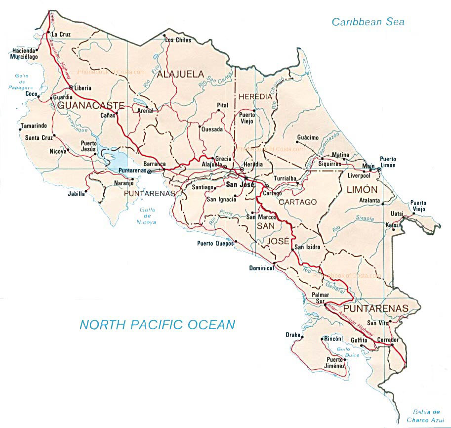 Detailed administrative and road map of Costa Rica. Costa Rica ...