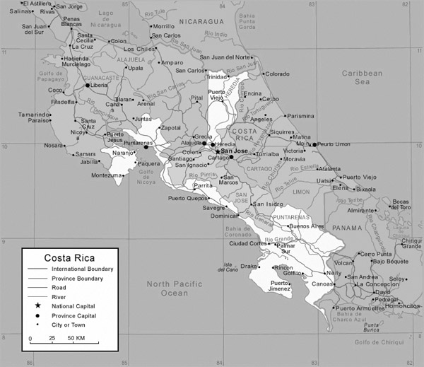 Detailed administrative map of Costa Rica. Costa Rica detailed administrative map.