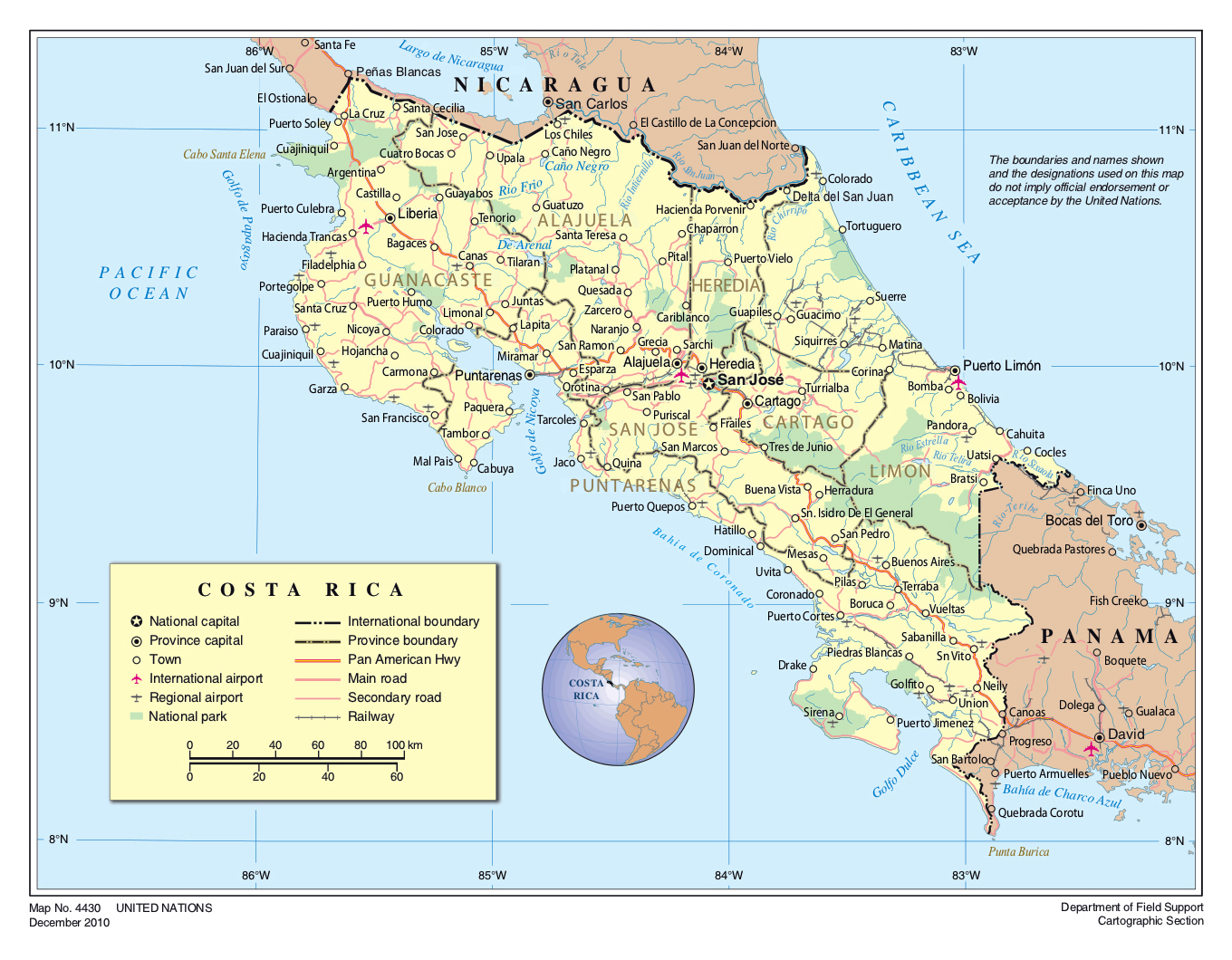 costa rica political map Detailed Political And Administrative Map Of Costa Rica With Roads costa rica political map
