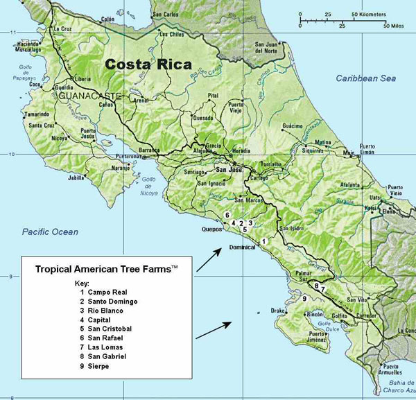 Detailed relief map of Costa Rica. Costa Rica detailed relief map.