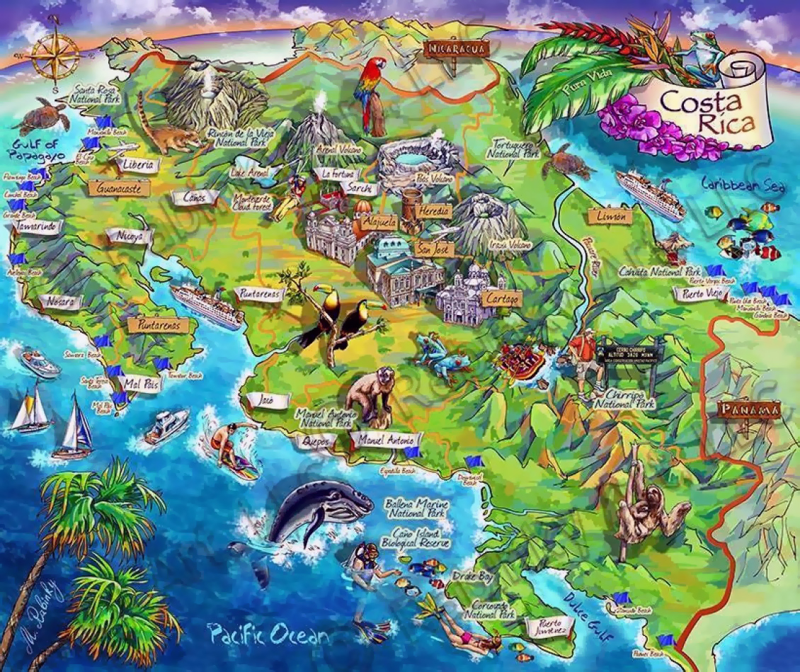 Detailed tourist illustrated map of Costa Rica Vidianicom Maps