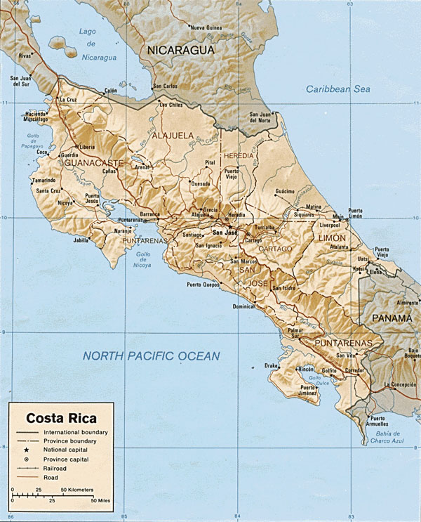 Large detailed political and administrative map of Costa Rica.