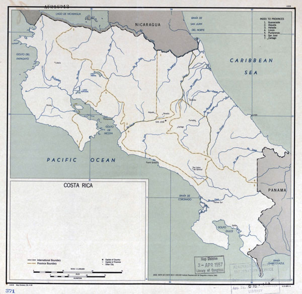 Large detailed political and administrative map of Costa Rica - 1950.