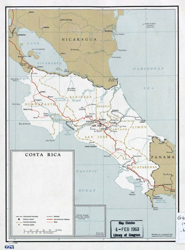 Large detailed political and administrative map of Costa Rica - 1961.
