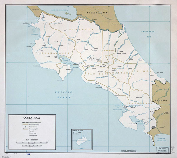 Large detailed political and administrative map of Costa Rica with major cities - 1963.