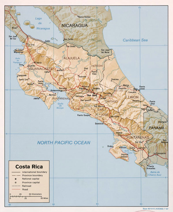 Large detailed political and administrative map of Costa Rica with relief, roads and major cities - 1987.