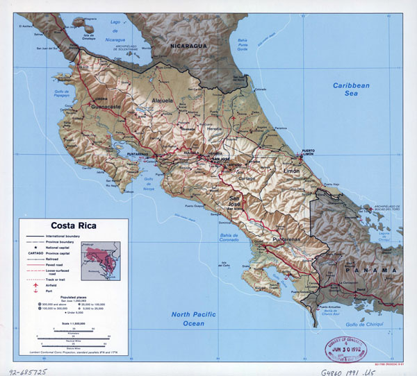 Large detailed political and administrative map of Costa Rica with relief, roads, major cities, airports and seaports - 1991.