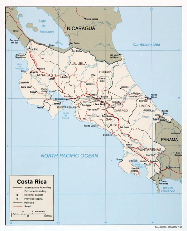Costa Rica large detailed political and administrative map with roads and major cities - 1987.