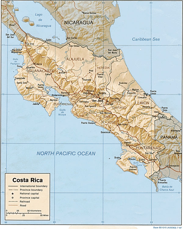 Large detailed political and relief map of Costa Rica.