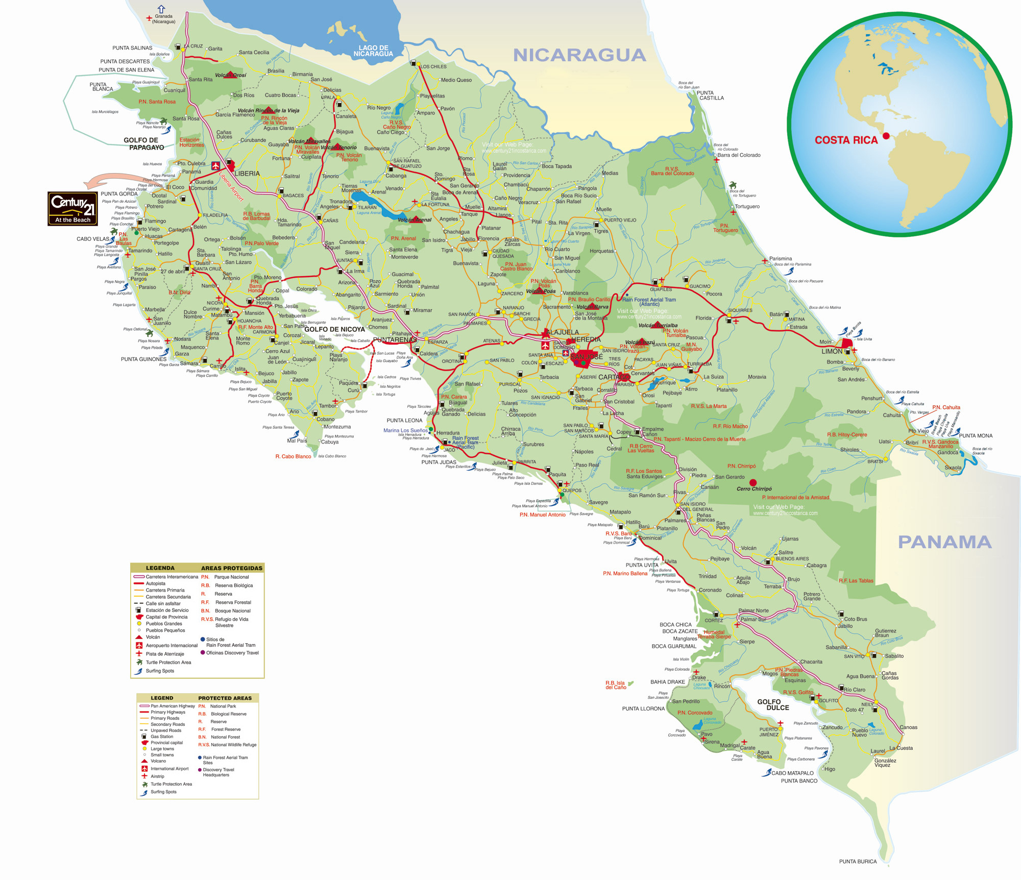 Large Detailed Road Map Of Costa Rica With Cities Costa Rica - Map of costa rica