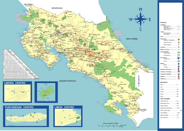 Large detailed tourist and road map of Costa Rica.