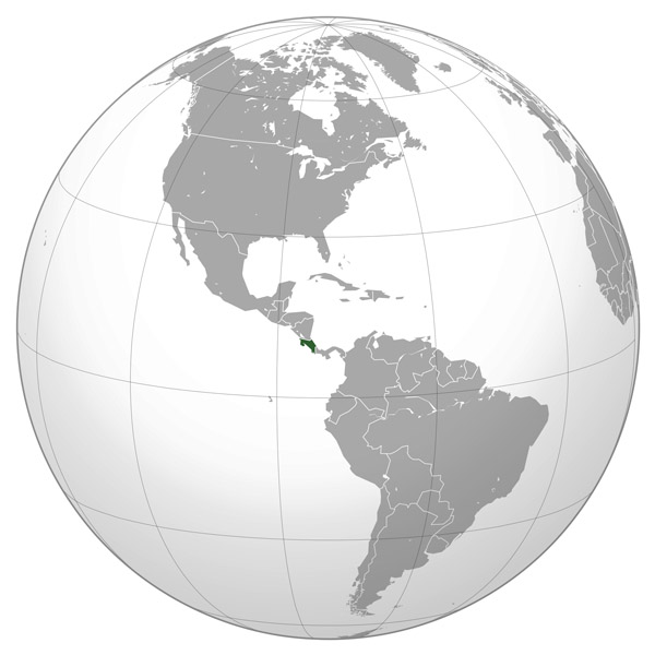 Where is located Costa Rica on the map? Large location map of Costa Rica.