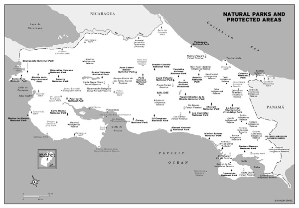 Large natural parks and protected areas map of Costa Rica.