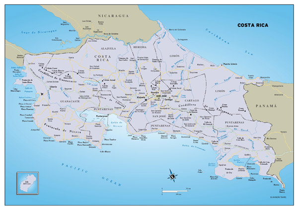 Large political and administrative map of Costa Rica with roads, major cities and airports.