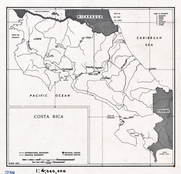 Costa Rica large political map - 1951. Large political map of Costa Rica - 1951.