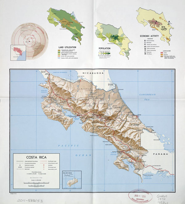 Large political map of Costa Rica with relief, administrative divisions, roads, major cities, airports and seaports - 1970.