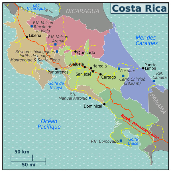 Large regions map of Costa Rica. Costa Rica large regions map.