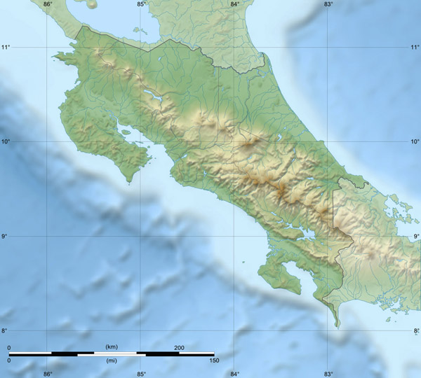 Large relief map of Costa Rica. Costa Rica large relief map.