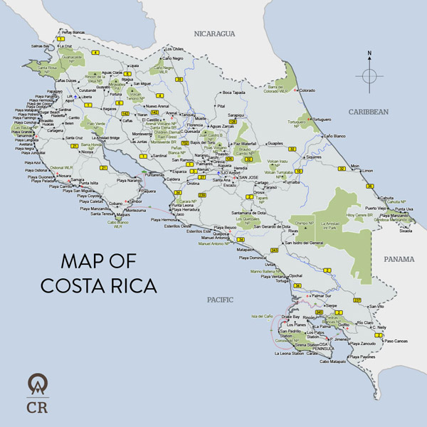 Map of Costa Rica. Costa Rica map.