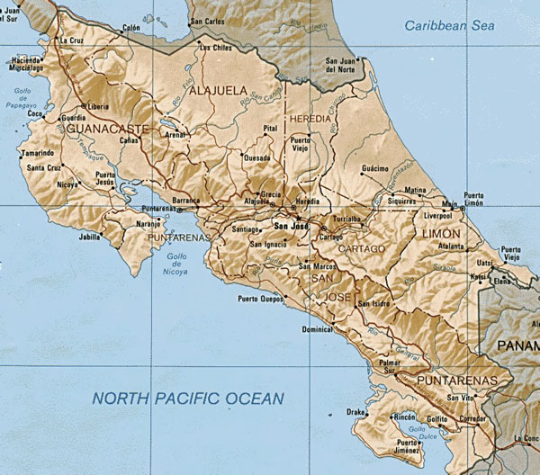 Relief and administrative map of Costa Rica.