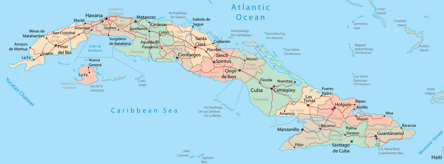 Detailed administrative and road map of Cuba. Cuba detailed ...