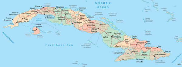 Detailed administrative and road map of Cuba.