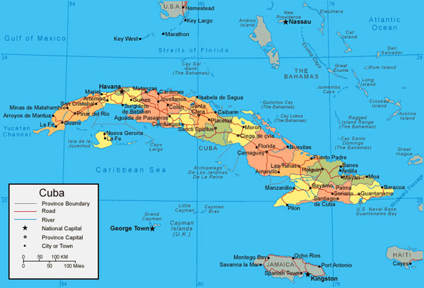Detailed administrative map of Cuba. Cuba detailed administrative map.