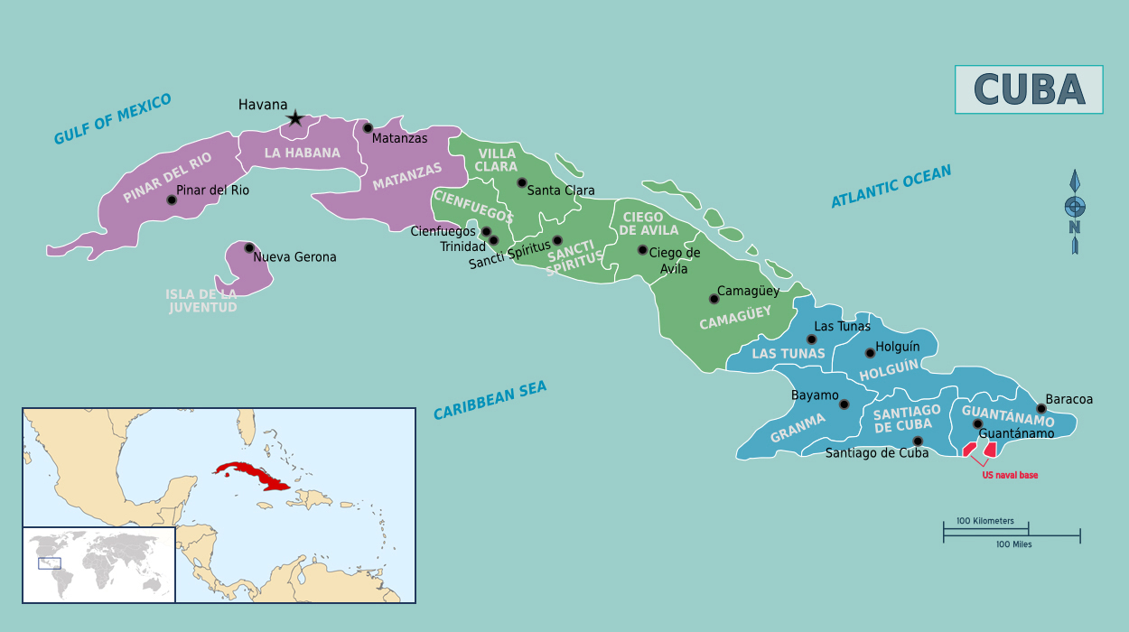 Detailed political map of Cuba Cuba detailed political map