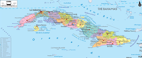 Large detailed administrative map of Cuba with cities and roads.