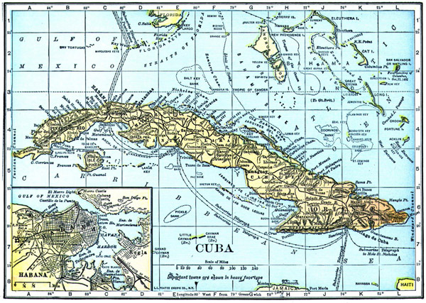 Large detailed old map of Cuba. Cuba large detailed old map.