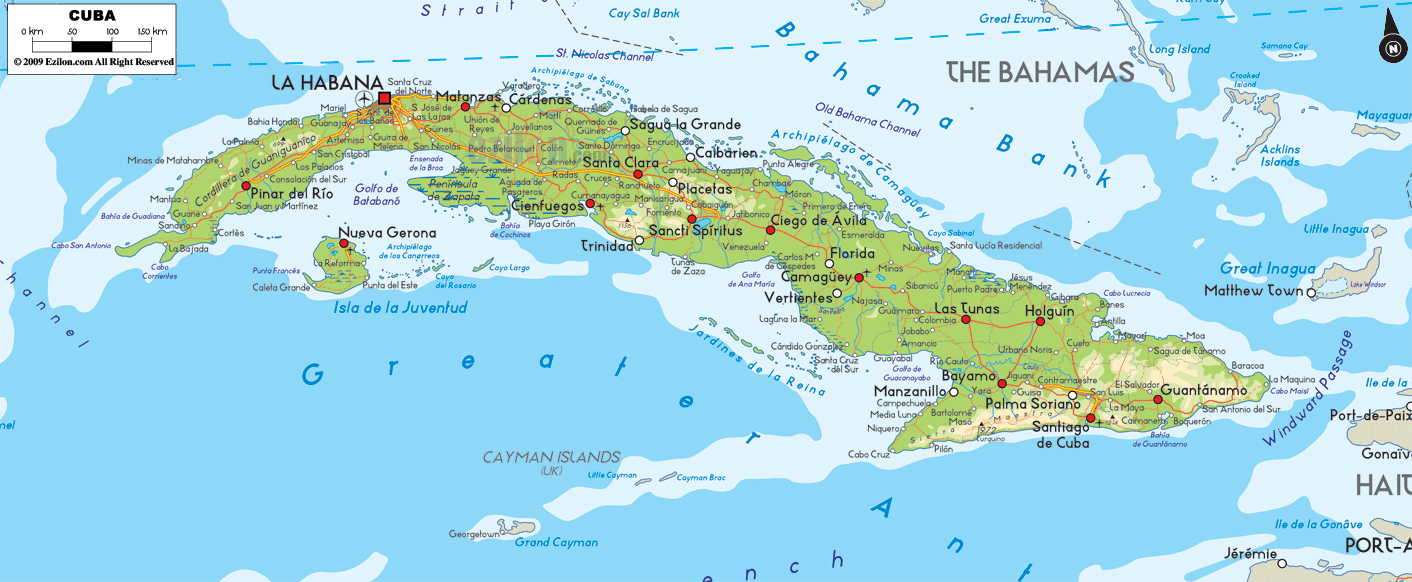 Large detailed physical map of Cuba with cities and roads Cuba