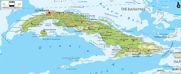 Large detailed physical map of Cuba with cities and roads.