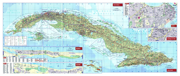 Large detailed relief and road map of Cuba with all cities, airports and other facilities.