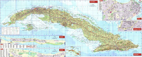 Large detailed road map of Cuba with cities and airports.