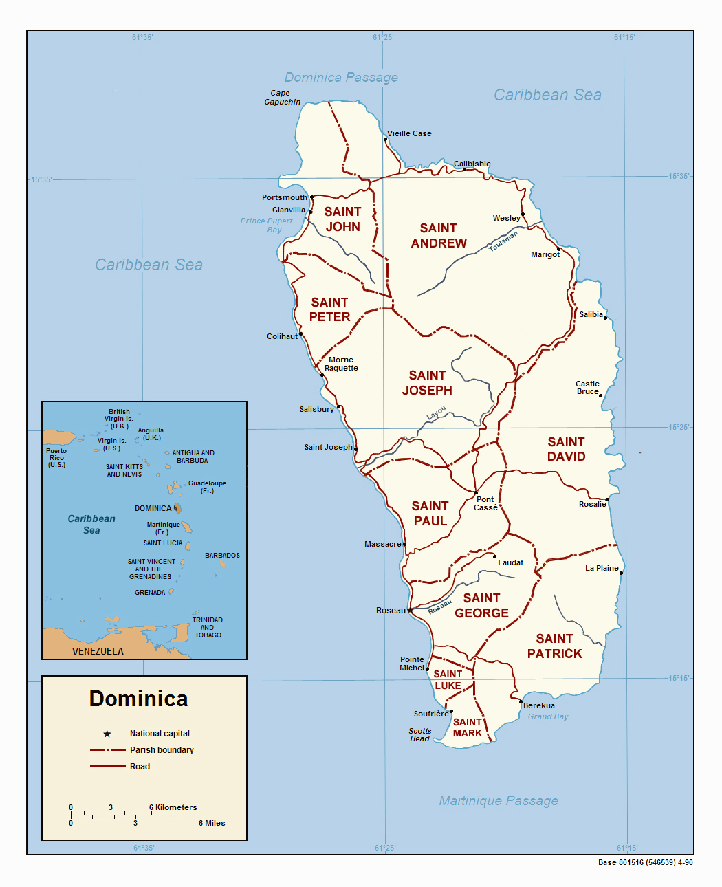 Detailed political map of Dominica Dominica detailed political map