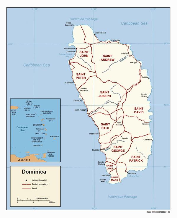 Detailed political map of Dominica. Dominica detailed political map.