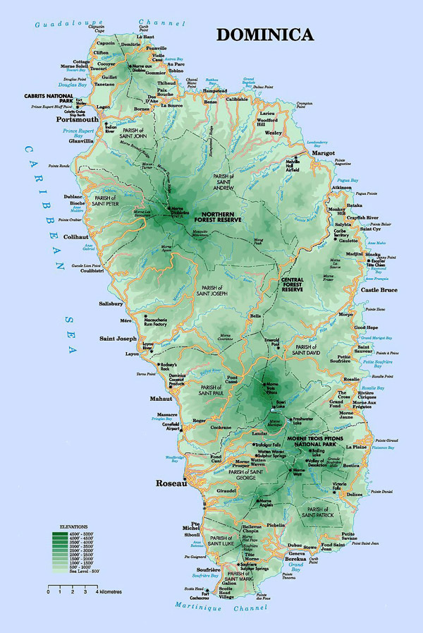 Detailed road and physical map of Dominica island.