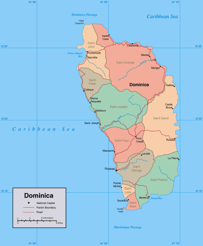 Large detailed administrative map of Dominica island.