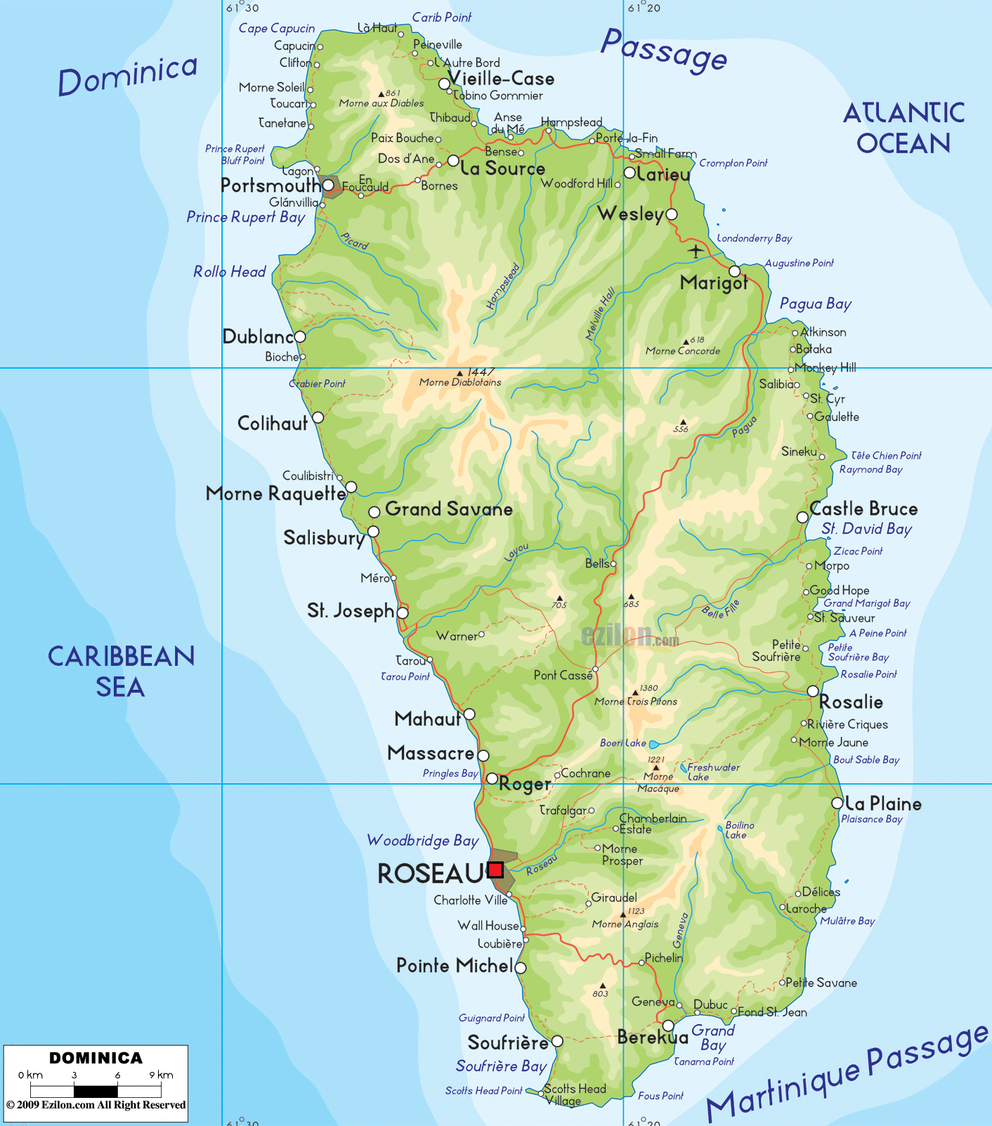 Large detailed physical map of Dominica island with cities Dominica