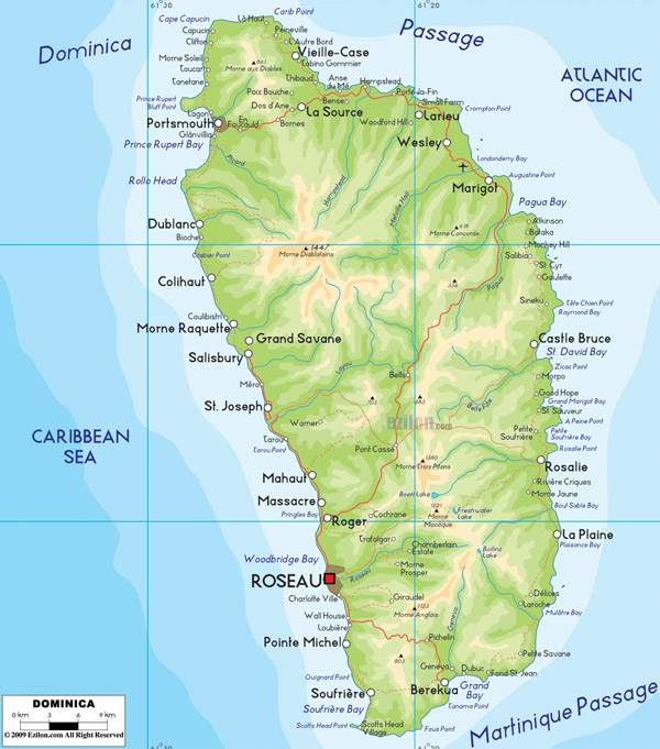 Large detailed physical map of Dominica island with cities.