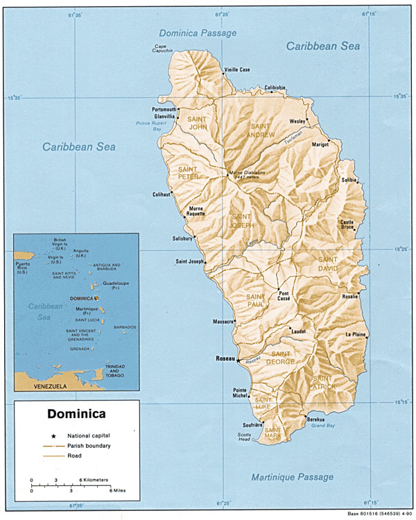 Large detailed relief and administrative map of Dominica.