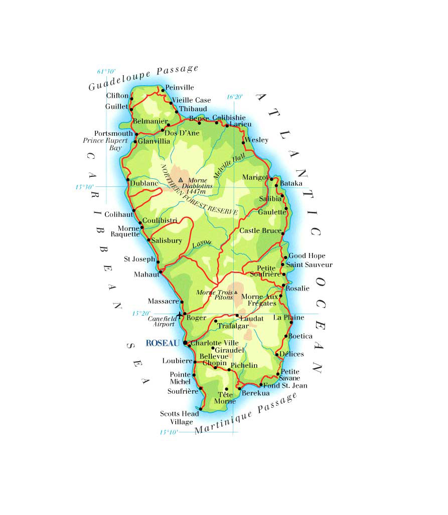 Large Detailed Road And Physical Map Of Dominica Dominica Large - Physical map of dominica