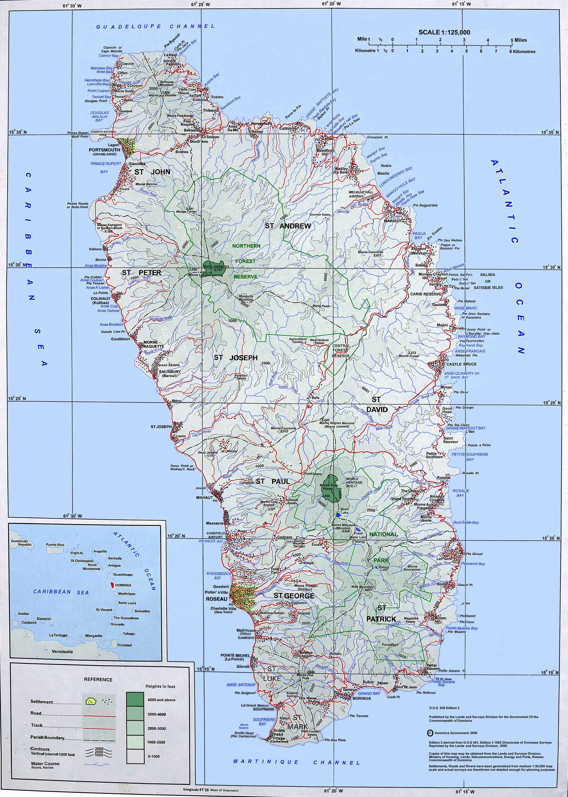 Large Detailed Topographical Map Of Dominica Island Dominica - Map of dominica caribbean sea