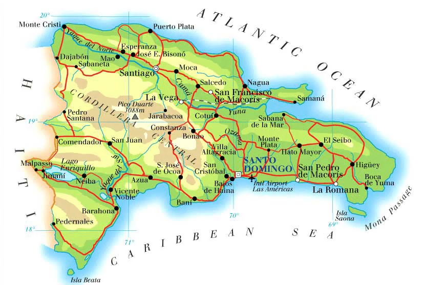 Detailed road and physical map of Dominican Republic Dominican