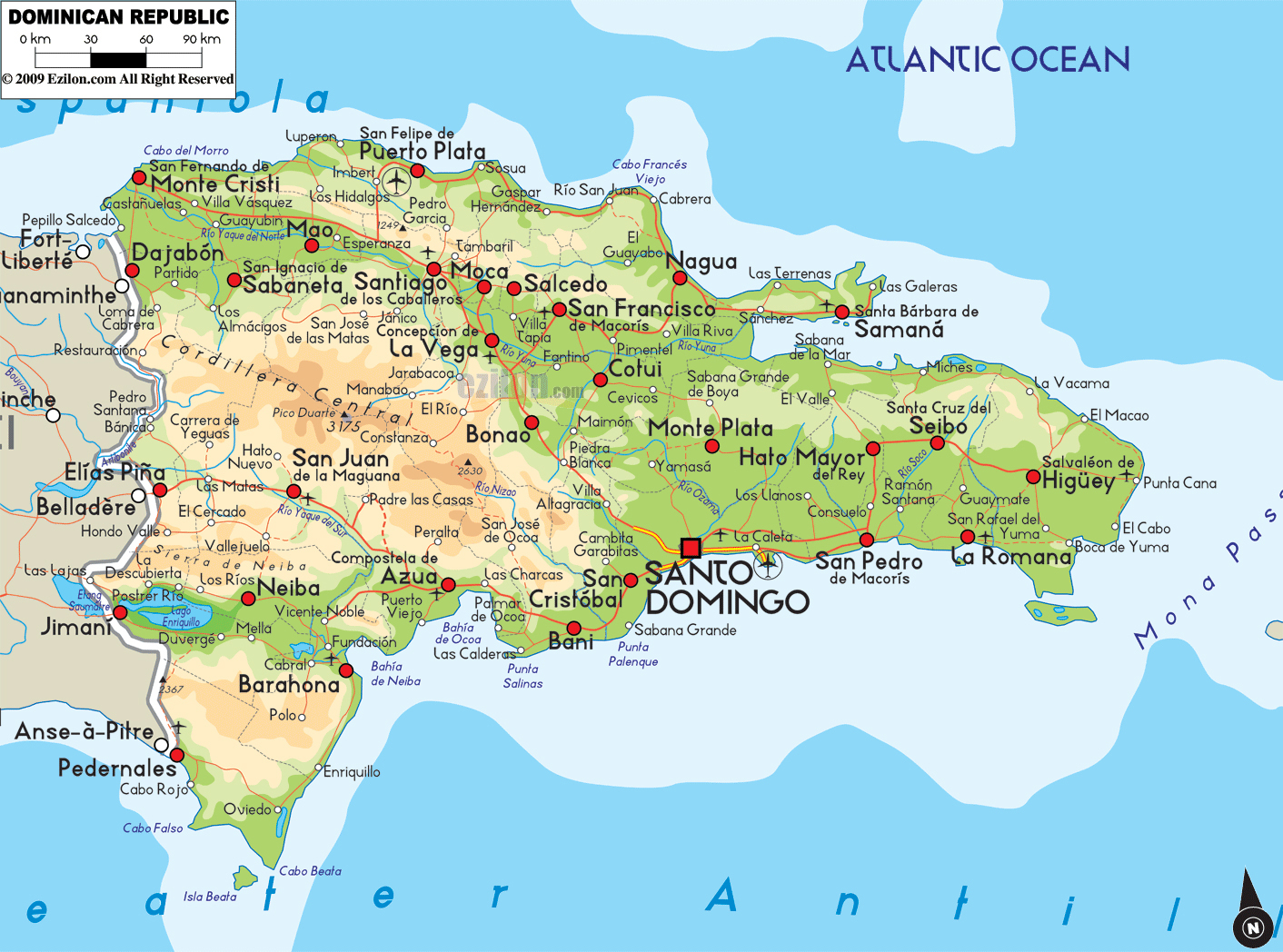 Large detailed physical and road map of Dominican Republic