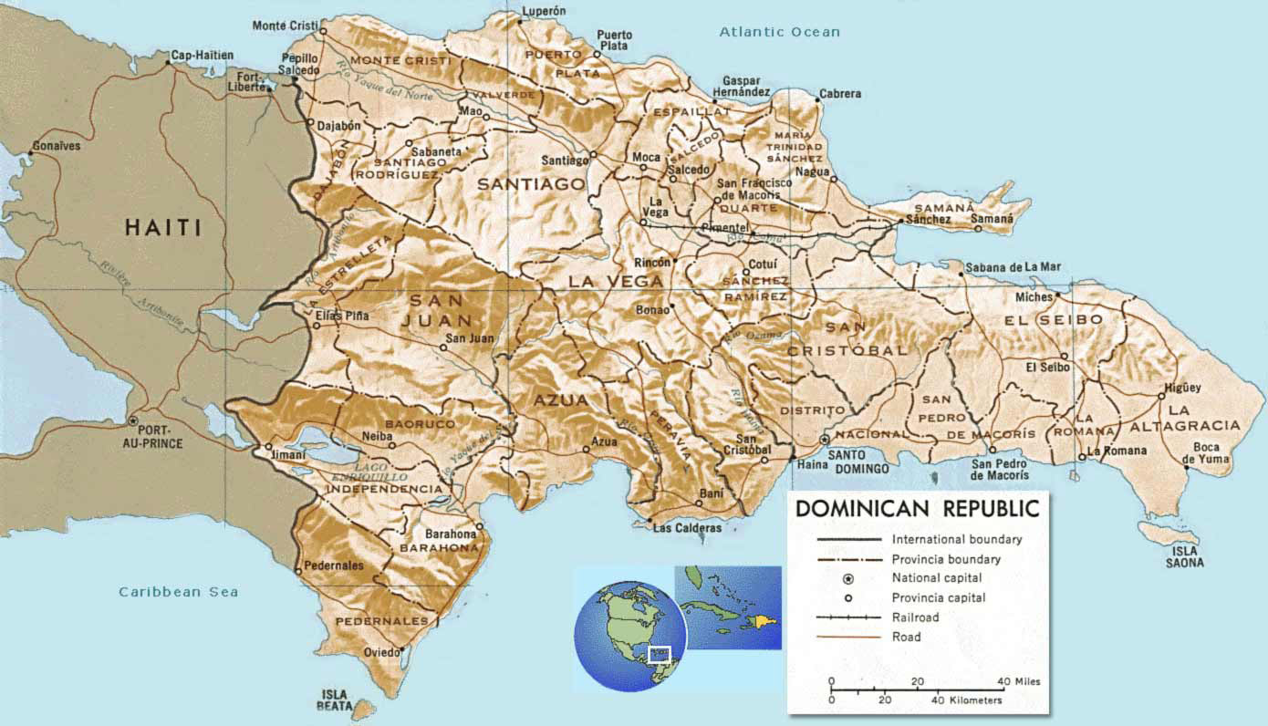 Large detailed political and relief map of Dominican Republic