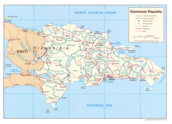 Large detailed political map of Dominican Republic.