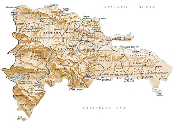 Large detailed relief and administrative map of Dominican Republic.